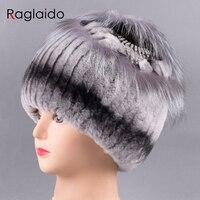 Raglaido Hat Women Floral Real Fur Rex Rabbit Fox Diamond Winter Fur Hats Hand Sewing Fashion