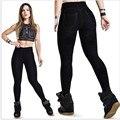 S-XL Mulheres Leggings Jeans Moda Hip-Up Fino Legging Menina Com Bolso Casual Elasticidade Leggings Mulheres