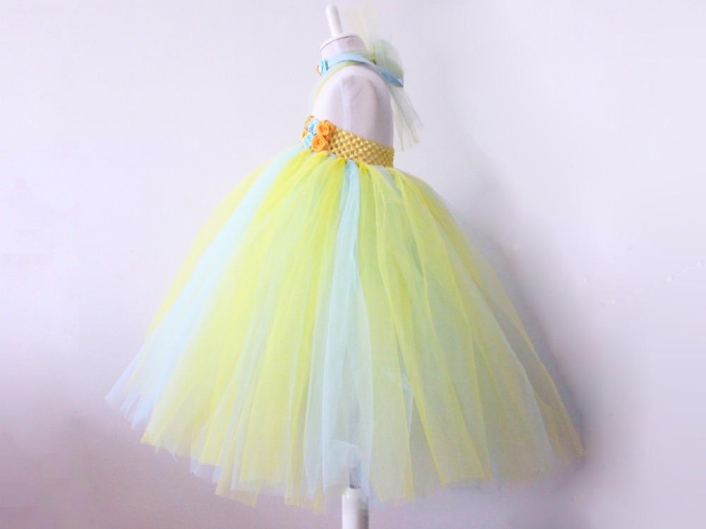 Ручной работы платье-пачка желтый и белый цветок детское платье для дня рождения/партия европейский и американский Стиль для маленьких дев...