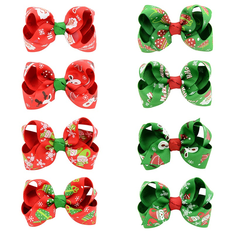 1PC Christmas Hair bows Hair Clip Children Baby Girl Hairbow Clips WITH Clip Snow Tree Pinwheel Hair Clips Hair Pin Accessories