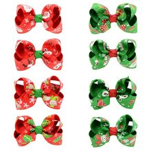 1PC Christmas Hair bows Hair Clip Children Baby Girl Hairbow Clips WITH Clip Snow Tree Pinwheel Hair Clips Hair Pin Accessories(China)