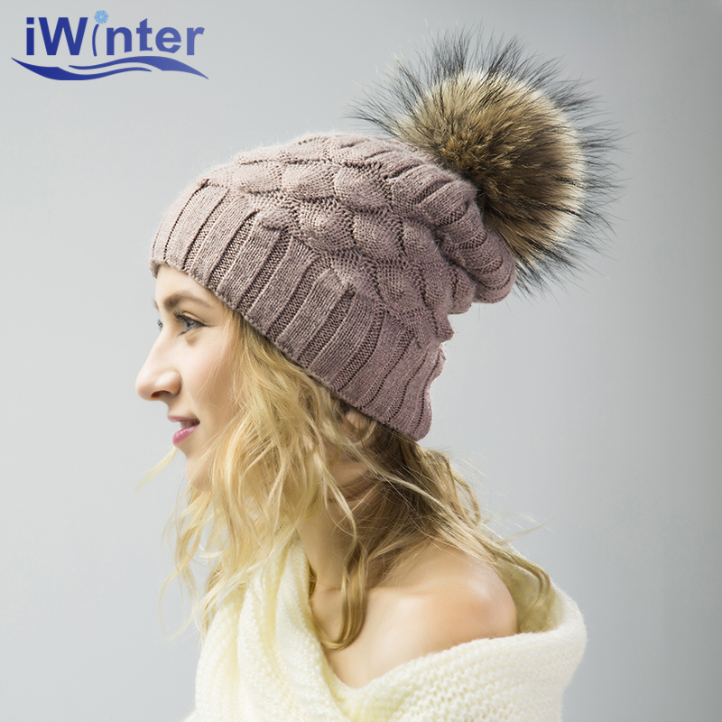IWINTER 2017 Skullies Beanies Winter Hat For Women Girl Pom Pom Hat Beanies Warm Knitted Pompom Hat Winter Female Warm Hat Cap hot skullies beanies winter hat pom pom caps for women girl vintage solid hemming warm spring autumn hat female wsep21