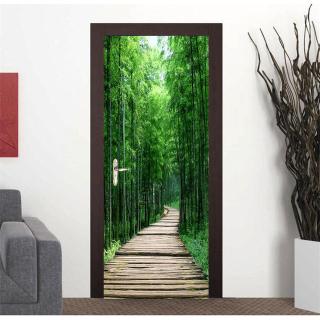 Door Photo Wallpaper Bamboo Wood Road Diy Murals Wallpaper