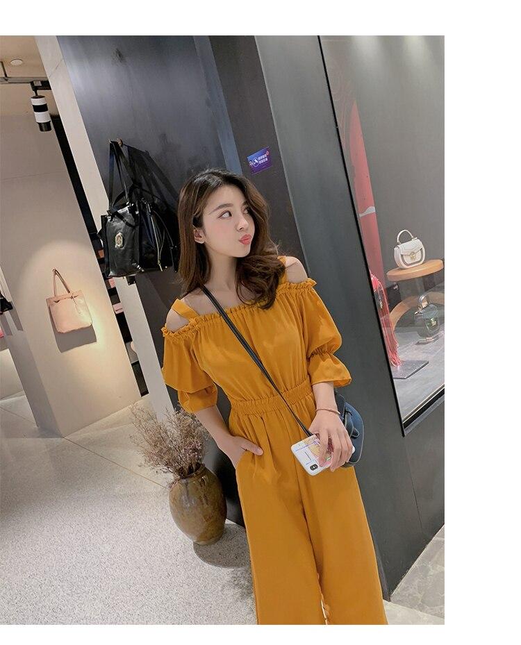 Women's Clothing 2019 Summer New Sexy Bohemian Style Spaghetti Strap Helf Sleeve High Waist Sling Long Beach Wide Leg Jumpsuit 17