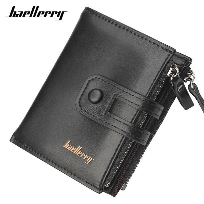 Baellerry Viele Abteilungen Brieftasche Männlichen Schwarz Marke Designer Brieftasche Männer Große Kapazität Karte Halter Doppel-reißverschluss Geldbörsen