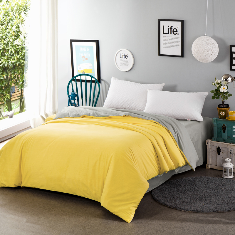 100 Cotton Yellowish Gray Two Sided Solid Color Bedding