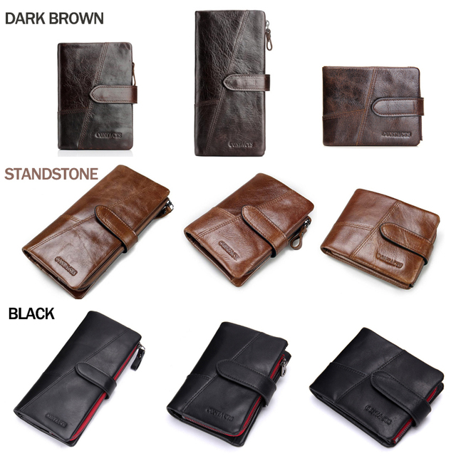 CONTACT'S Genuine Crazy Horse Cowhide Leather Men Wallets