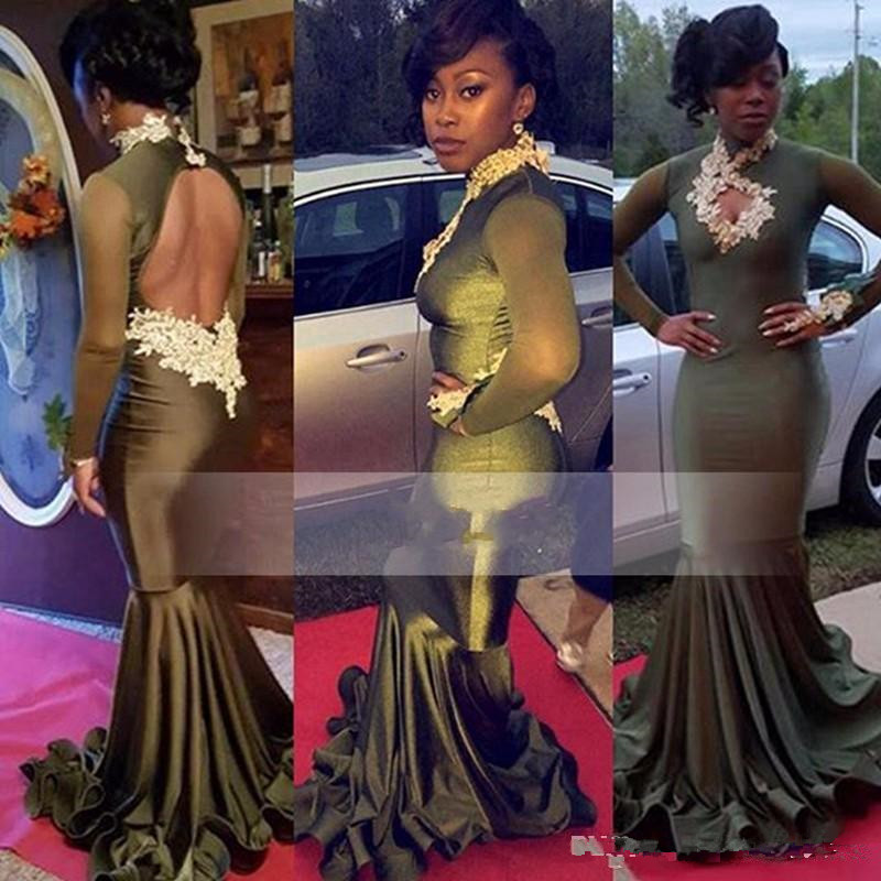 Elegant High Neck Long Sleeve Olive Prom Dresses 2017 Appliques