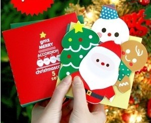 promotional gifts Korea style fashion Folding design 3D Christmas cards 5Sheets.Sets Christmas gift