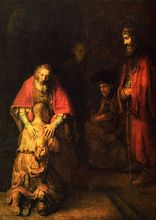Rembrandt: The Return of the Prodigal Son SILK POSTER Decorative painting  24x36inch