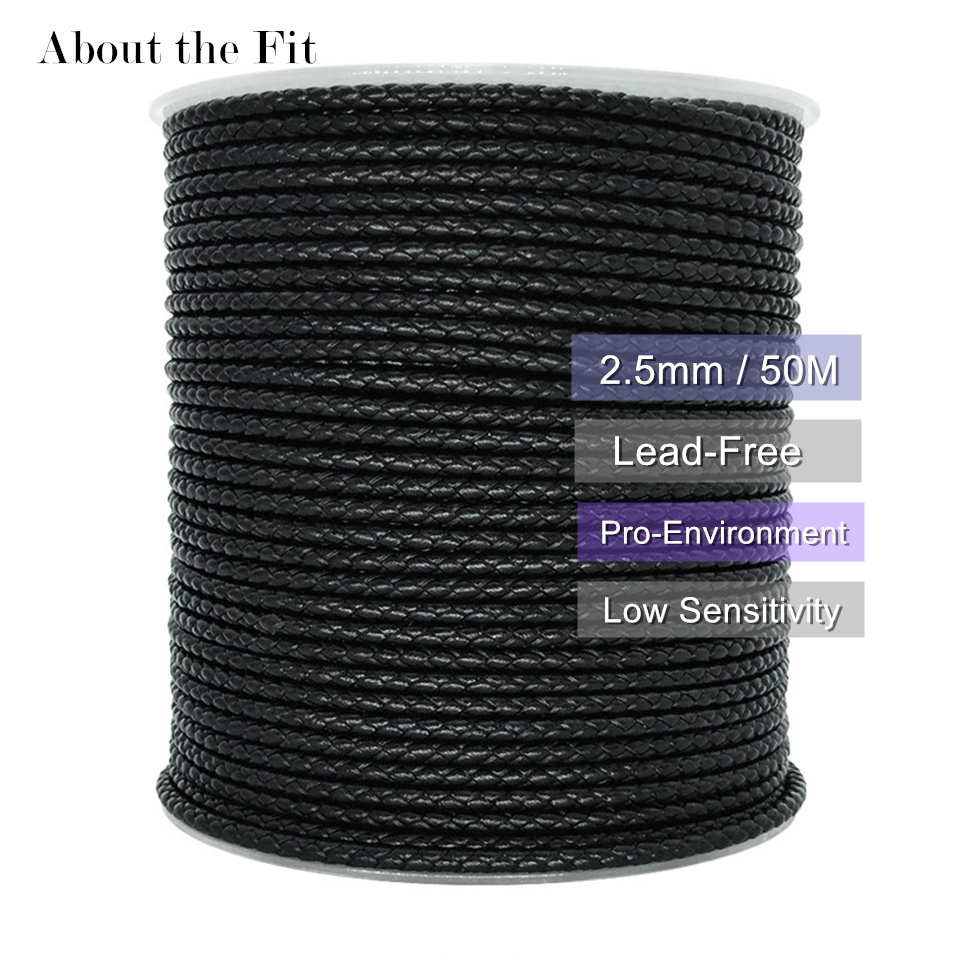 About The Fit 2.5mm 50Meters Braided Real Leather Cord Woven Rope Genuine Leather Crafts Beading Accessories Lace Jewelry Making