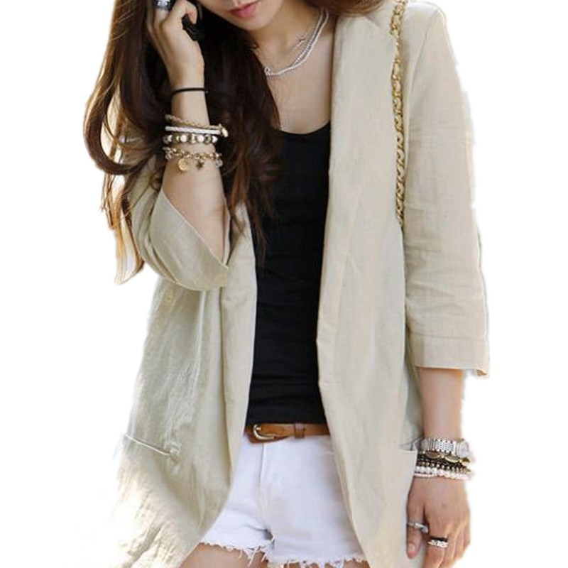 new arrival Women fashion coat Summer Linen blazer Medium ...