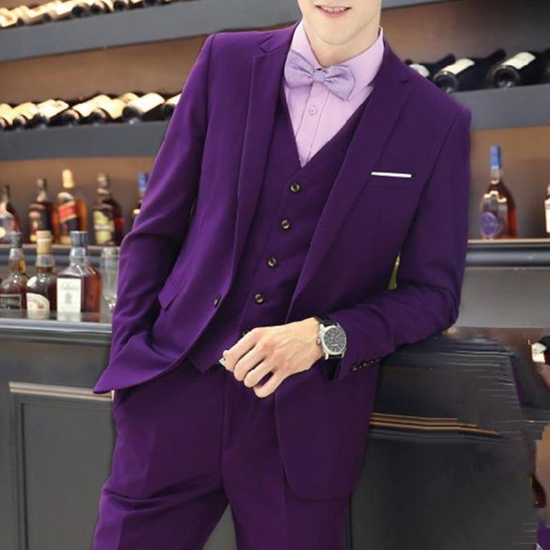 Fahsion Purple Groomsmen Tuxedo Men Suits For Prom Wedding Groom Suit Blazers Men Suit Casual Terno Masculino(Jacket+Pants+Vest)