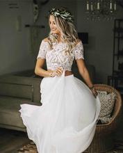 ערבית סקסי זול חתונה שמלת 2020 שתי חתיכות Boho קצר שרוולי שיפון זורם בוהמי חוף שמלות יבול חולצות בתוספת גודל