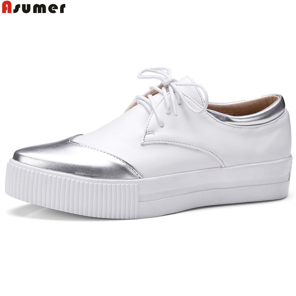 ASUMER black white fashion spring autumn flat shoes woman pointed toe lace up platform with platform women flats big size 33-43 hot sale 2016 new fashion spring women flats black shoes ladies pointed toe slip on flat women s shoes size 33 43