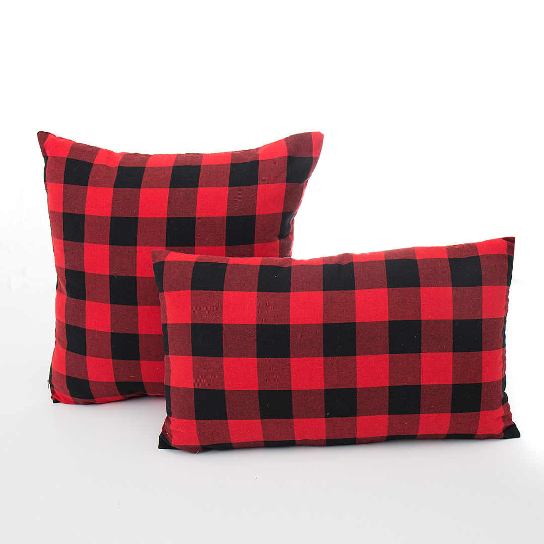 Simple Style Square Rectangle PillowcaseRed Black Plaid Pillow Case Sofa Office Cotton Cushion Cover Home Decor