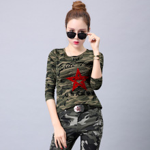 Womens Cotton Camouflage t shirt Female Large Size 5Xl 6Xl Military Uniform Army Green T-shirt Ladies long-sleeved Tops Clothing