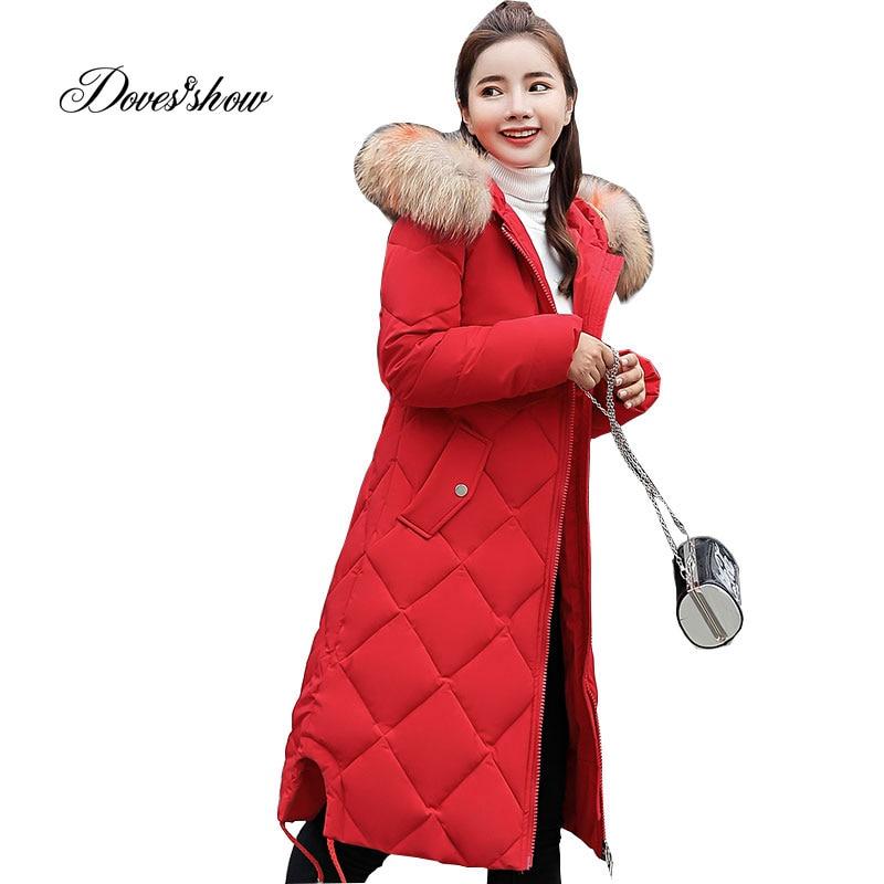 0ad8d0fdd5 Hooded Elastic Fur Collar Winter Down Coat Jacket Thick Warm Slim Women  Casaco Feminino Female Jacket Abrigos Mujer Invierno