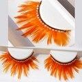 Nova ab cristal exagerada cílios postiços ballet latina estúdio de maquiagem grosso orange feather cílios postiços cruz sujo eye lashes