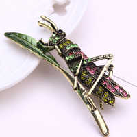 Inseto broche de metal da jóia folha bonito pins e broches para as mulheres strass pin de lapela homens brosche