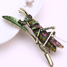 insect brooch jewelry metal leaf cute pins and brooches for women rhinestone lapel pin men brosche