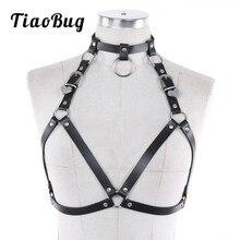 TiaoBug Women Faux Leather Adjustable Body Chest Harness Costume Ladies Hot Sexy Punk Gothic Caged Bra Waist Bondage Belt Strap