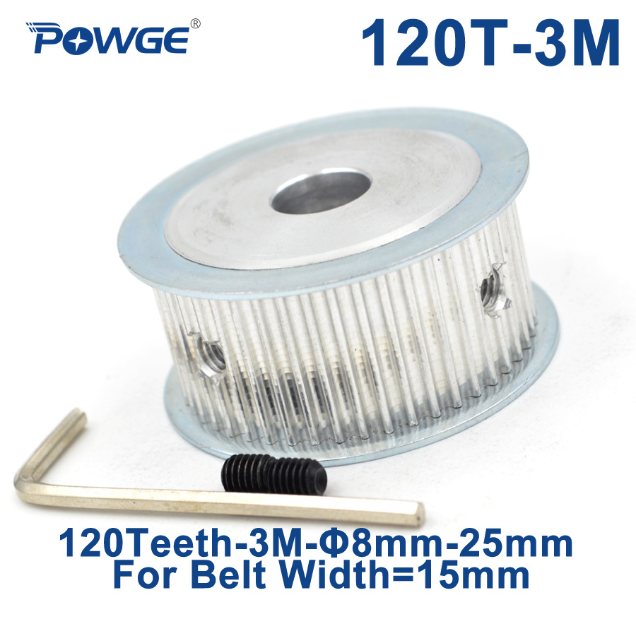 POWGE 120 Teeth HTD 3M Synchronous Timing Pulley Bore 8/10/12/14/20/25mm for Width 15mm HTD3M Belt Wheel 120T 120Teeth все цены