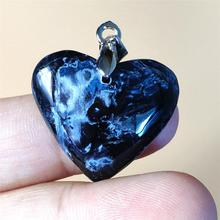 Excellent Natural Blue Pietersite Heart Pendant Chatoyant Birthday Gift Reiki Stone 24x22x8mm Gemstone Women Necklace AAAAA