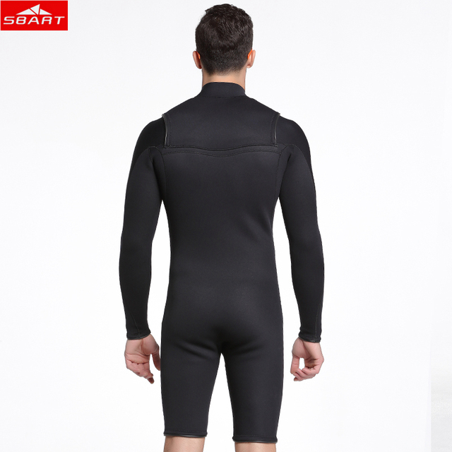 Sbart Men 3mm Short sleeve Wetsuit neoprene Freediving spear fishing Blue Diving suit swimsuit Pants one-piece Suit surf wetsuit