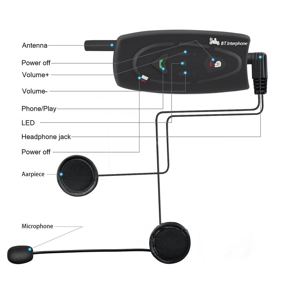 Motorcycle Helmet Bluetooth Walkie talkie V2 500 Smart Full Duplex Bluetooth Real time Stereo Walkie talkie Waterproof Windproof in Helmet Headsets from Automobiles Motorcycles