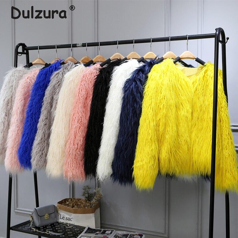 Fluffy Mongolia Sheep Faux Fur Coat Women Shaggy Long Curly Hair Fake Fur Jacket 2018 Women Winter Jackets Coats Plus Size 4XL