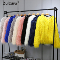 Fluffy Mongolia Sheep Faux Fur Coat Women Shaggy Long Curly Hair Fake Fur Jacket 2018 Women Winter Jackets Coats Plus size 4XL