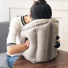 Coussin dair gonflable amélioré, de soutien de tête, de menton, pour avion, voiture, bureau, oreiller de repos de cou