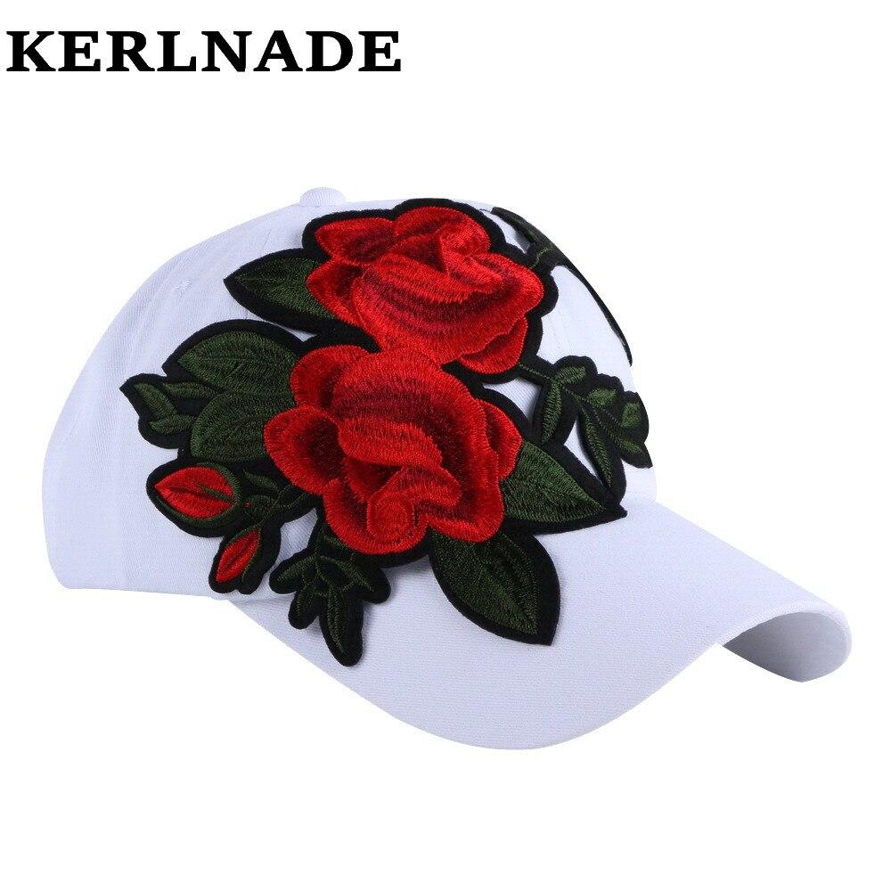 Prix pour Nouveau mode femmes fille marque casquette de baseball chapeaux rose rouge blanc coloré denim coton floral casual femme chapeau 58 CM casquettes de sport