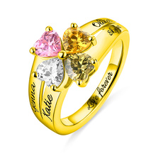 AILIN Personalized MOM Jewelry Mums Love and Lucky 4 Birthstones Ring In Gold Name&Birthstone Rings For Her Christmas Gift