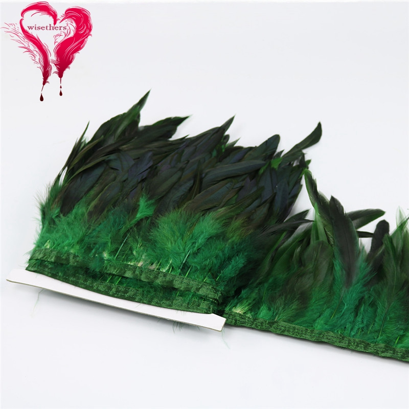 8 dark green rooster feather trims 4