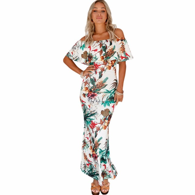 1a641205dc2cb Fashion Summer Women Sundress Tropical Turquoise Floral Print Sexy Off-The-Shoulder  Ruffle Beach Night Party Maxi Dress#277544