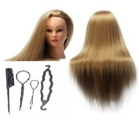 CAMMITEVER Mannequin Head Hair Styling Training Head Manikin Cosmetology Doll Head Synthetic Fiber Hair Hairdressing with Tools