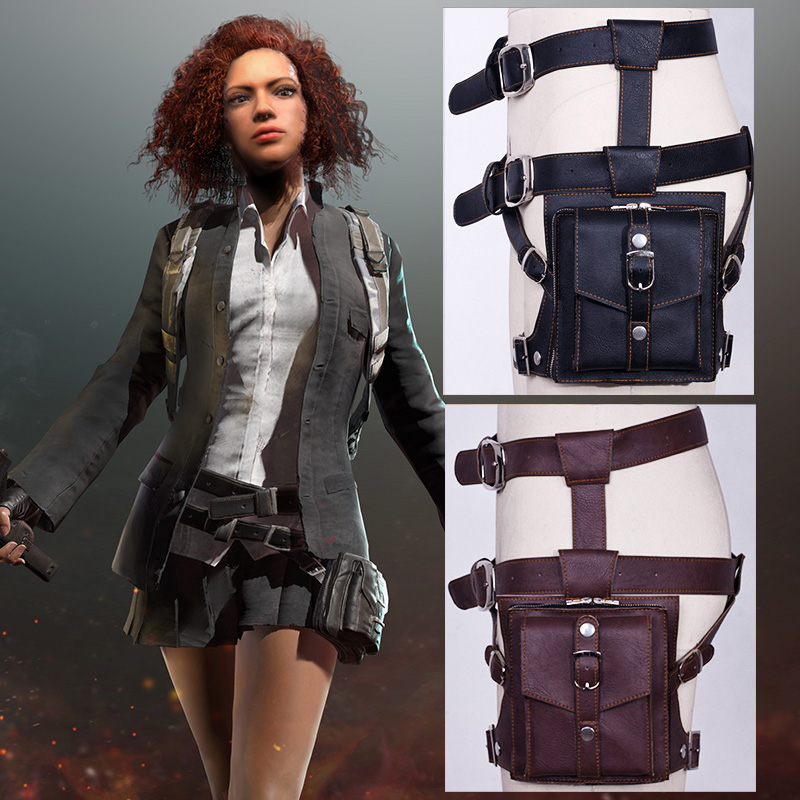 PUBG Cosplay Leg Bag Pockets Leather PU Playerunknown's Battlegrounds Props Waist Bag PU Chicken Dinner