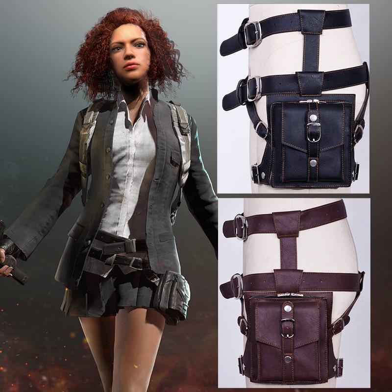 PUBG cosplay Leg bag pockets leather PU Playerunknown's Battlegrounds Props Waist Bag PU Chicken Dinner