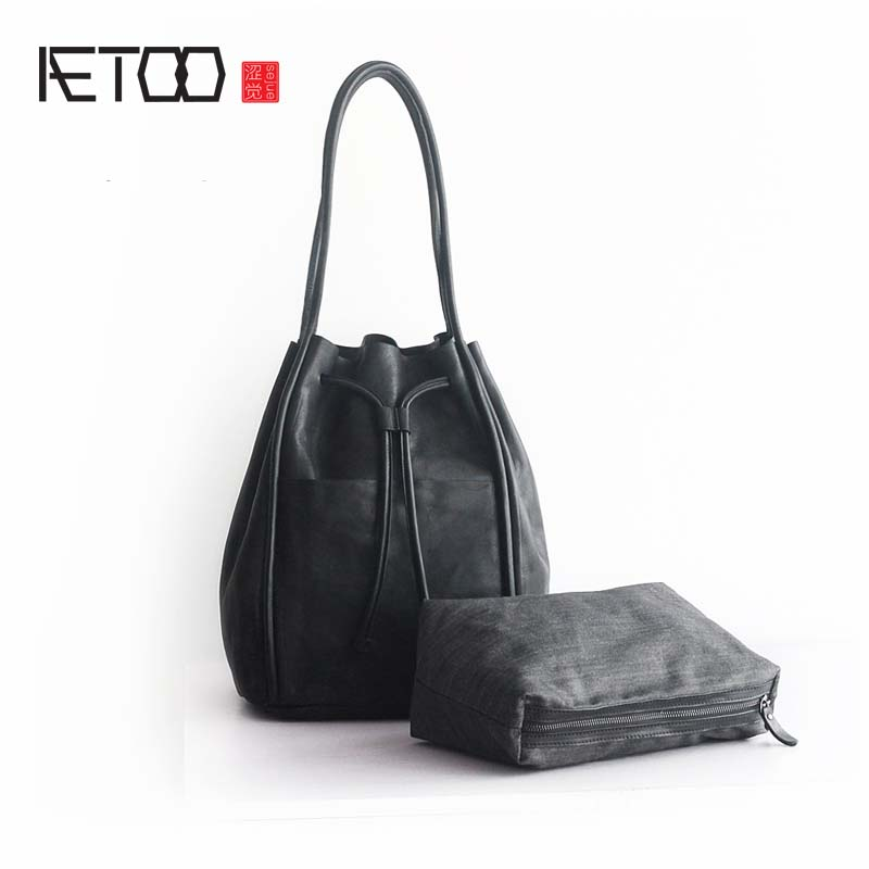 AETOO Autumn and winter new casual retro art leather handbags soft large capacity leather handbag slung shoulder bag loeil leather handbag 2018 autumn and winter new women s large capacity handbag shoulder slung ladies bag