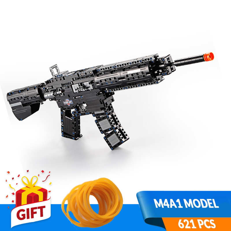 621pcs Self locking Bricks DIY Gun Toys Made of Building Blocks SWAT M4A1 Rifle ModelCompatible All Major Brands Gift for Boy in Blocks from Toys Hobbies