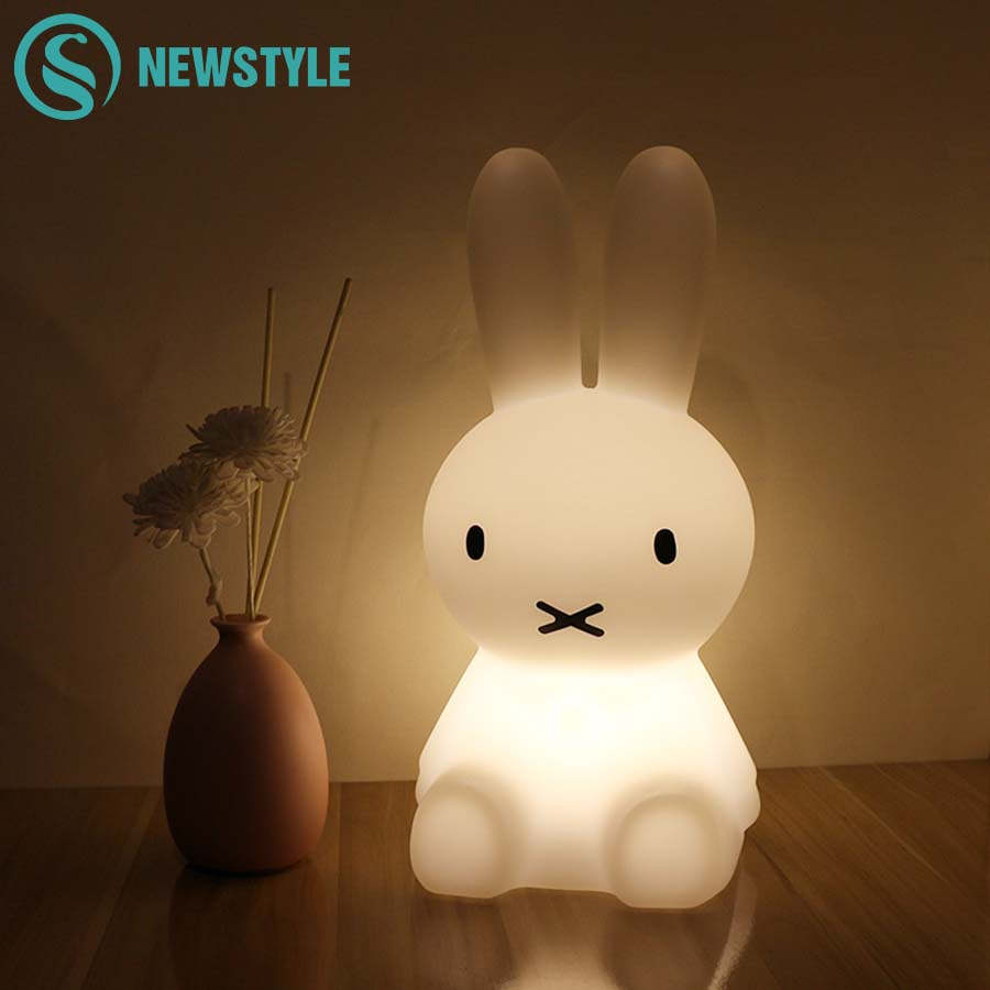 28cm Rabbit LED Night Light for Children Baby Bedroom LED Night Lamp Cartoon Decorative Light Lovely Children Sleeping Lamp lovely stitch night light cartoon