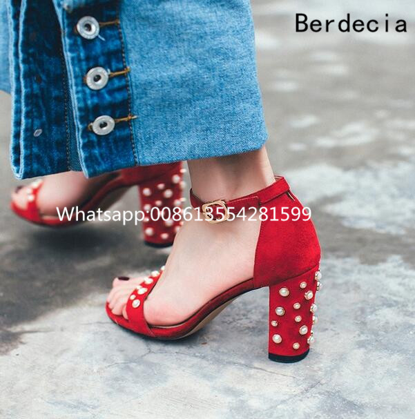 2017 New Fashion Suede Leather Spike Thick Heels Shoes Women Sample Pearl Gladiator Sandals Summer Ladies Dress Wedding Shoes