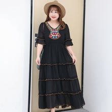 2018 bohemian dress summer Embroidery chiffon maxi Indie folk cupcake loose plus size 4XL half sleeve Empire dresses