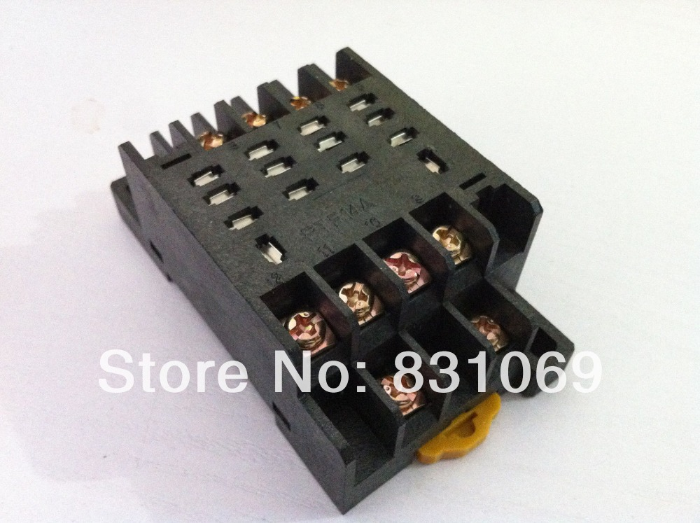 5piece PTF14A Relay Socket Base For LY4NJ HH64P-L Power Relay 10pcs pyf14a 14 pin terminal relay socket base black for my4nj base hh54p power relay
