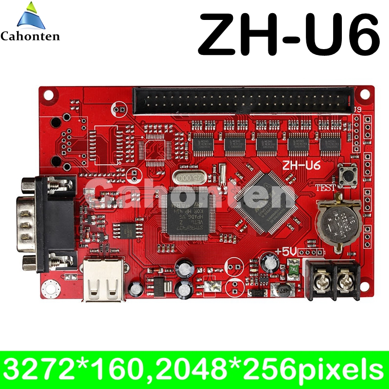 ZH-U6 USB / RS232 port led control card 2728*192,2048*256 pixels for programable large size outdoor led screen display board bx 6q3 usb and ethernet port lintel full color led control card asynchronous video led sign controller 384 1024 512 768pixels