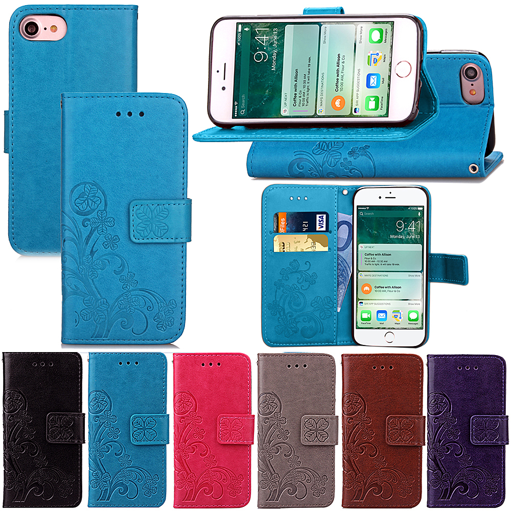Four Leaf Clover Case for Apple iPhone 7 6 Plus 5S SE Case with Flip Wallet Case iPhone5 Phone Coque Hoesjes PU Leather