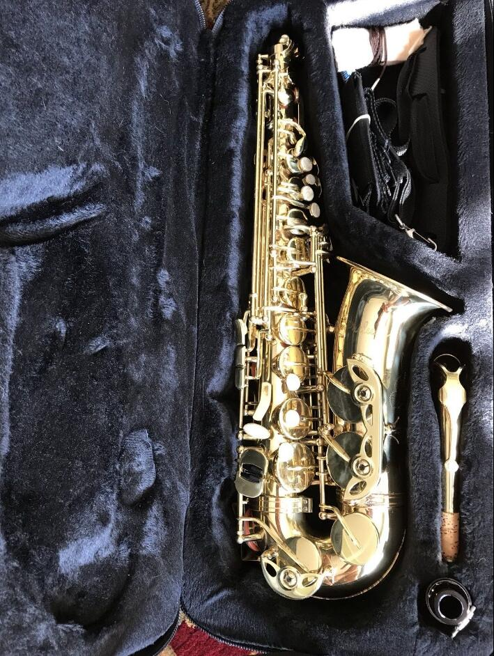 US $335 0  France Selmer Prelude AS 711 Alto Saxophone Gold Lacquer Brass  Instruments with case, mouthpiece, gloves, reeds, straps-in Saxophone from