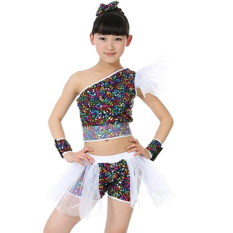ce1f9c5bdfd5 Image Children dance sequined costumes Jazz Dancewear for girl Modern dance  clothing Jazz hip hop Street